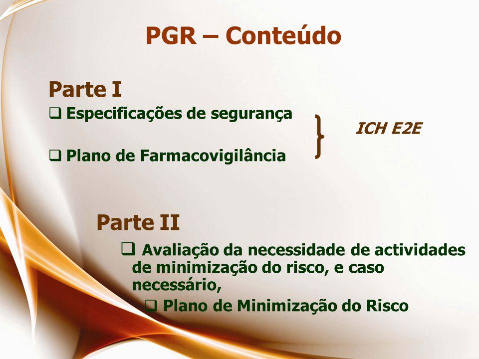 PGR – Conteúdo Parte I  Especificações de segurança  Plano de Farmacovigilância Parte II  Avaliação da necessidade de actividades de minimização do risco, e caso necessário,  Plano de Minimização do Risco ICH E2E