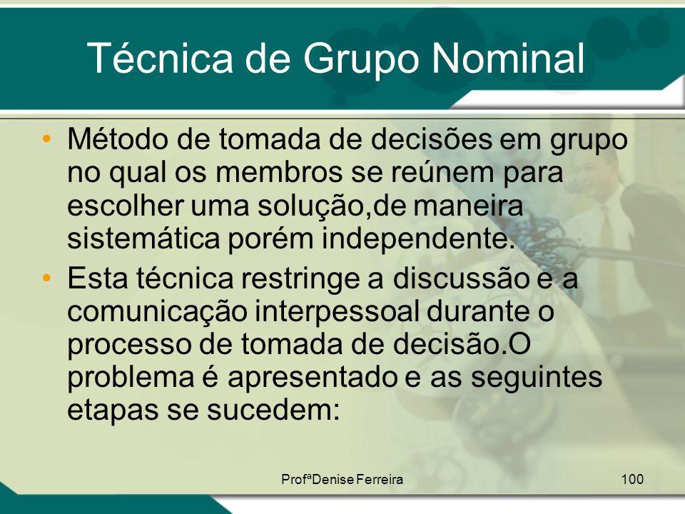 ProfªDenise Ferreira100 Técnica de Grupo Nominal •Método de tomada de decisões em grupo no qual os membros se reúnem para escolher uma solução,de mane