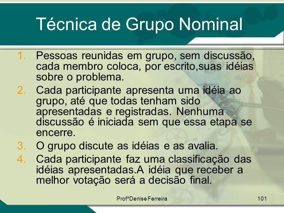 ProfªDenise Ferreira101 Técnica de Grupo Nominal 1.Pessoas reunidas em grupo, sem discussão, cada membro coloca, por escrito,suas idéias sobre o probl
