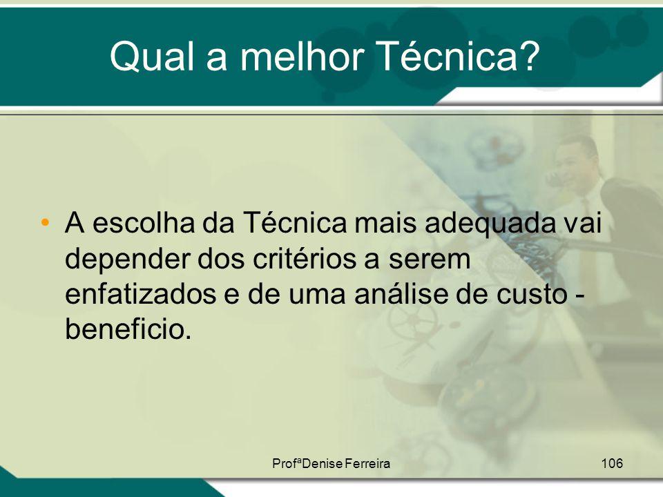 ProfªDenise Ferreira106 Qual a melhor Técnica? •A escolha da Técnica mais adequada vai depender dos critérios a serem enfatizados e de uma análise de