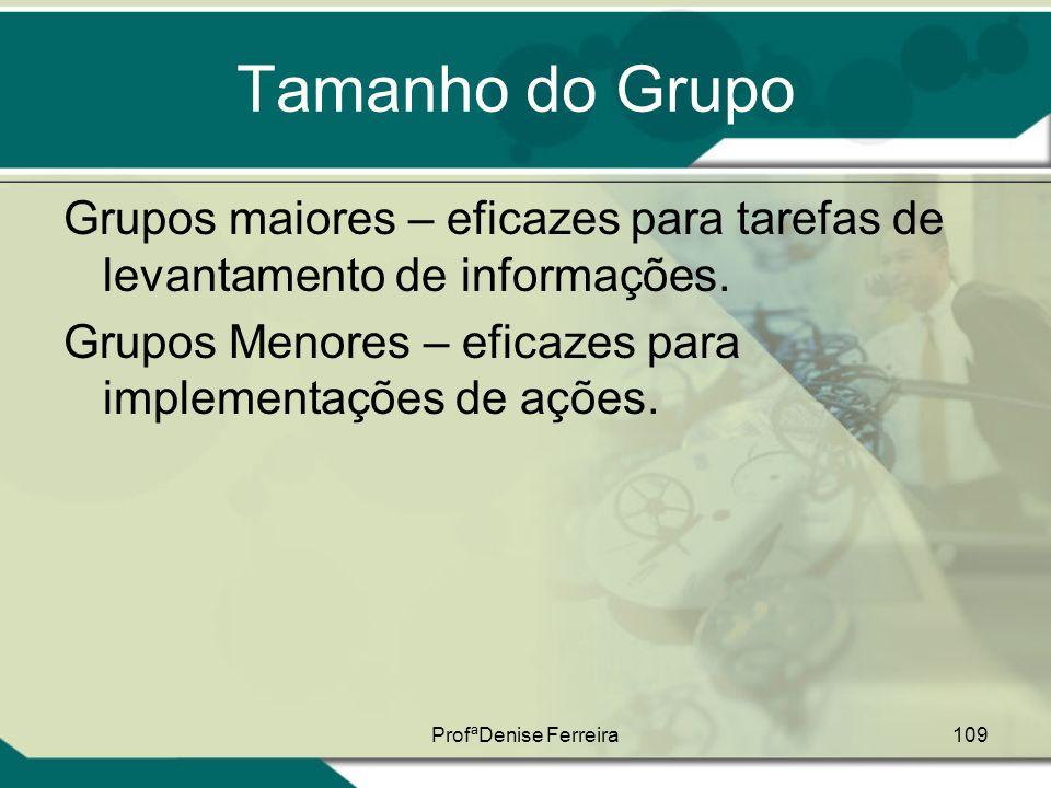 ProfªDenise Ferreira109 Tamanho do Grupo Grupos maiores – eficazes para tarefas de levantamento de informações. Grupos Menores – eficazes para impleme