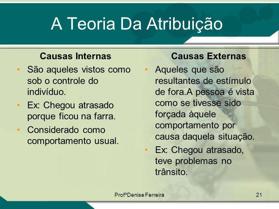 ProfªDenise Ferreira21 A Teoria Da Atribuição Causas Internas •São aqueles vistos como sob o controle do indivíduo. •Ex: Chegou atrasado porque ficou