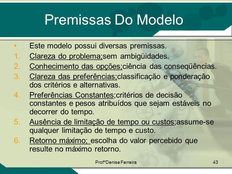 ProfªDenise Ferreira43 Premissas Do Modelo •Este modelo possui diversas premissas. 1.Clareza do problema;sem ambigüidades. 2.Conhecimento das opções;c