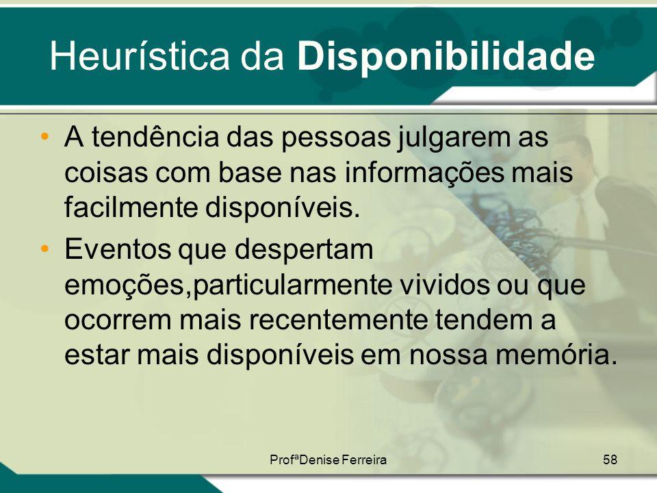 ProfªDenise Ferreira58 Heurística da Disponibilidade •A tendência das pessoas julgarem as coisas com base nas informações mais facilmente disponíveis.