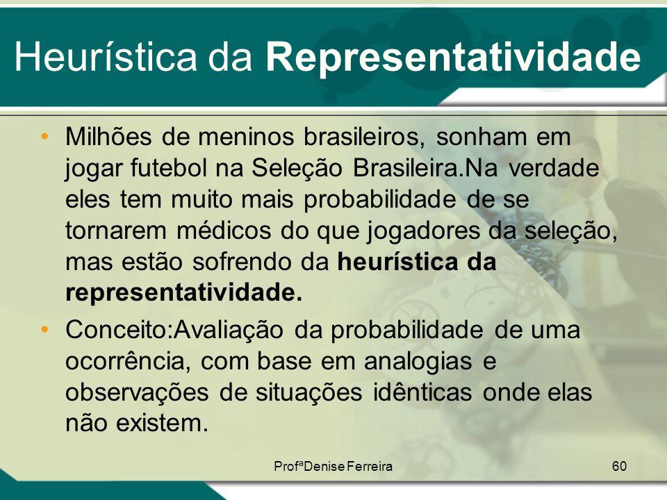 ProfªDenise Ferreira60 Heurística da Representatividade •Milhões de meninos brasileiros, sonham em jogar futebol na Seleção Brasileira.Na verdade eles