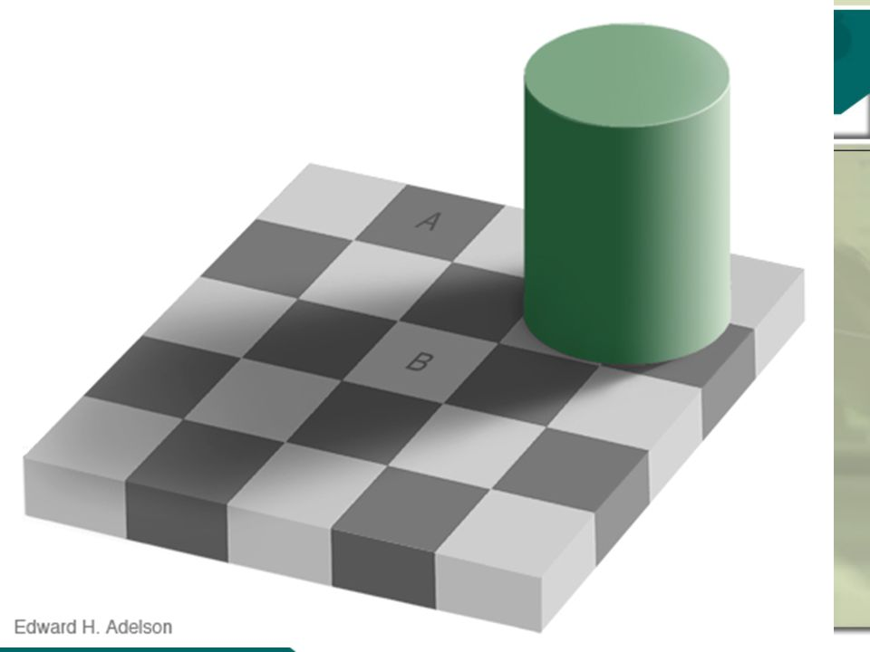 8 As cores dos quadrados A e B são iguais!?