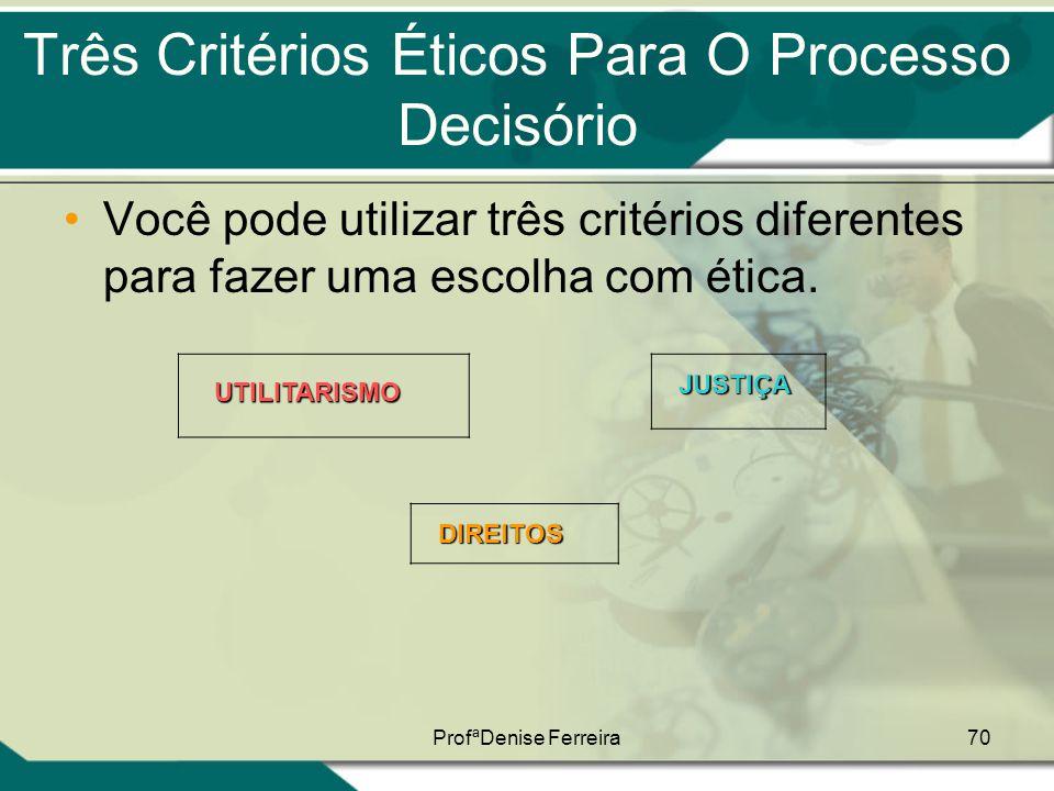 ProfªDenise Ferreira70 Três Critérios Éticos Para O Processo Decisório •Você pode utilizar três critérios diferentes para fazer uma escolha com ética.