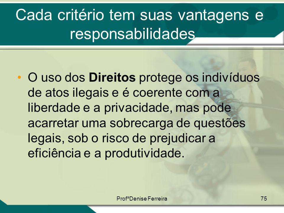 ProfªDenise Ferreira75 Cada critério tem suas vantagens e responsabilidades... •O uso dos Direitos protege os indivíduos de atos ilegais e é coerente