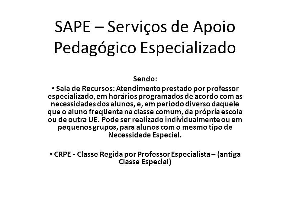 SAPE – Serviços de Apoio Pedagógico Especializado Sendo: • Sala de Recursos: Atendimento prestado por professor especializado, em horários programados