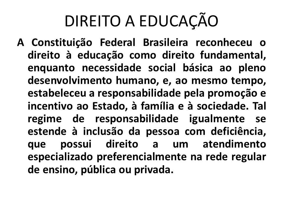DIREITO A EDUCAÇÃO A Constituição Federal Brasileira reconheceu o direito à educação como direito fundamental, enquanto necessidade social básica ao p