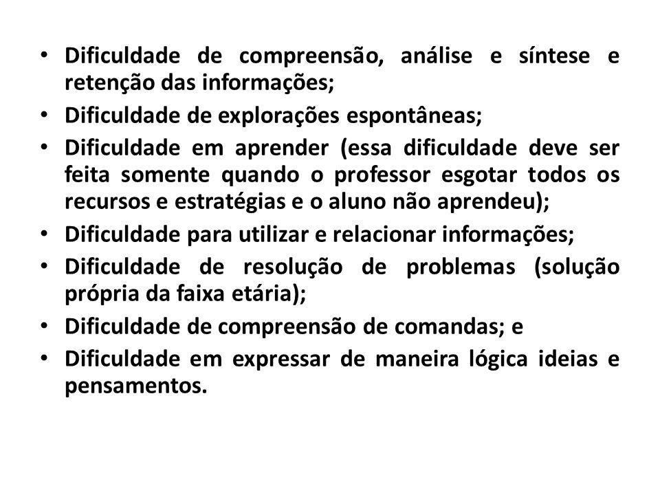 • Dificuldade de compreensão, análise e síntese e retenção das informações; • Dificuldade de explorações espontâneas; • Dificuldade em aprender (essa