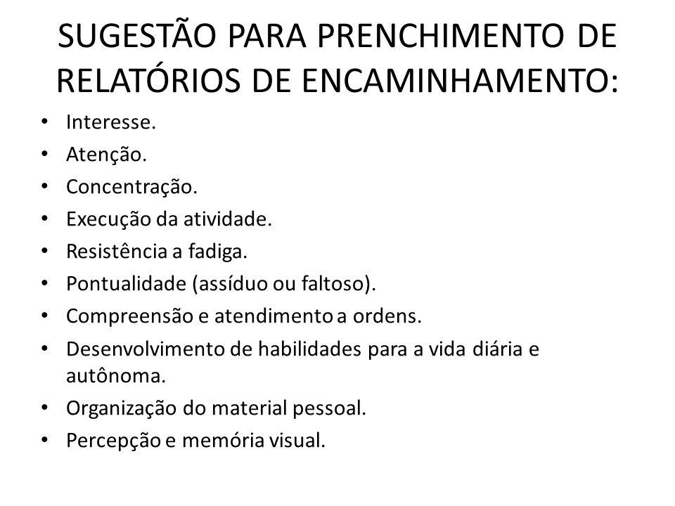 SUGESTÃO PARA PRENCHIMENTO DE RELATÓRIOS DE ENCAMINHAMENTO: • Interesse. • Atenção. • Concentração. • Execução da atividade. • Resistência a fadiga. •