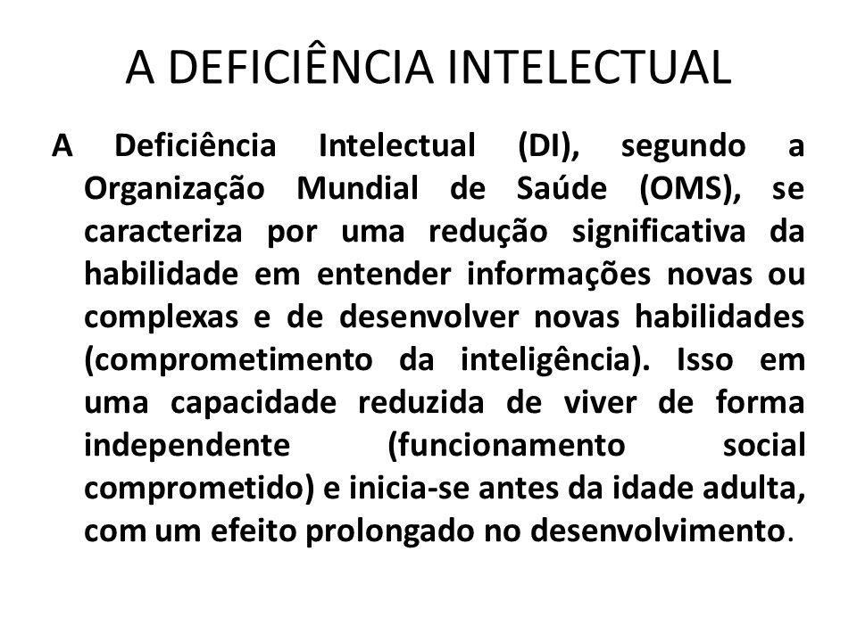 A DEFICIÊNCIA INTELECTUAL A Deficiência Intelectual (DI), segundo a Organização Mundial de Saúde (OMS), se caracteriza por uma redução significativa d