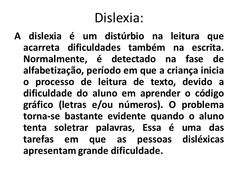 Dislexia: A dislexia é um distúrbio na leitura que acarreta dificuldades também na escrita. Normalmente, é detectado na fase de alfabetização, período