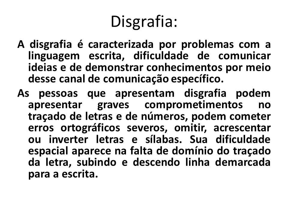 Disgrafia: A disgrafia é caracterizada por problemas com a linguagem escrita, dificuldade de comunicar ideias e de demonstrar conhecimentos por meio d