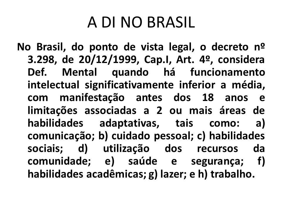 A DI NO BRASIL No Brasil, do ponto de vista legal, o decreto nº 3.298, de 20/12/1999, Cap.I, Art. 4º, considera Def. Mental quando há funcionamento in