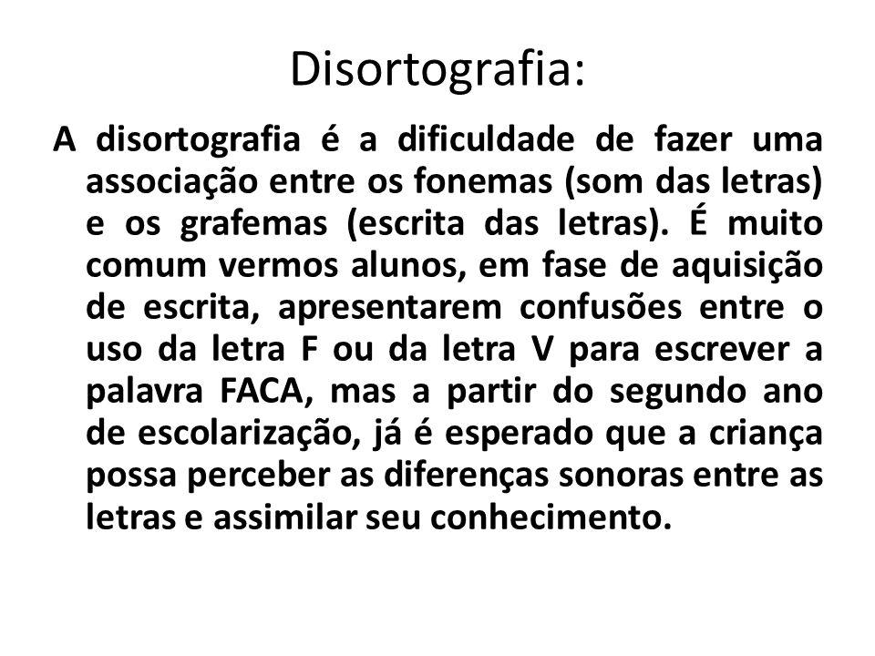 Disortografia: A disortografia é a dificuldade de fazer uma associação entre os fonemas (som das letras) e os grafemas (escrita das letras). É muito c