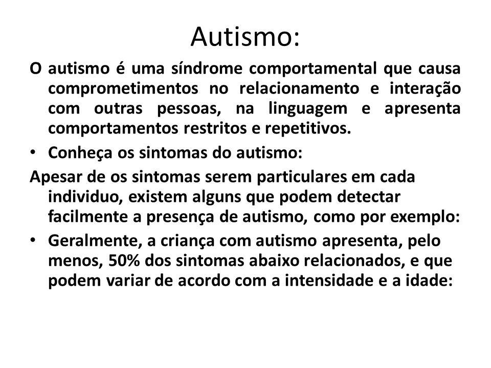 Autismo: O autismo é uma síndrome comportamental que causa comprometimentos no relacionamento e interação com outras pessoas, na linguagem e apresenta