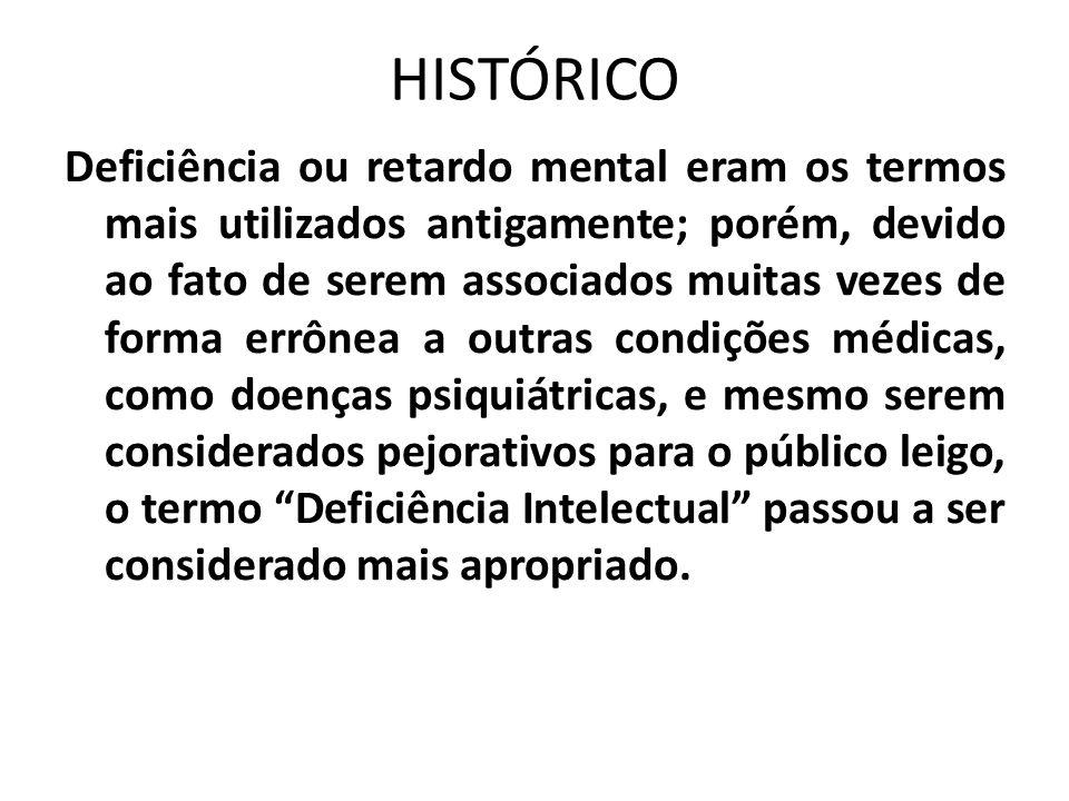 HISTÓRICO Deficiência ou retardo mental eram os termos mais utilizados antigamente; porém, devido ao fato de serem associados muitas vezes de forma er