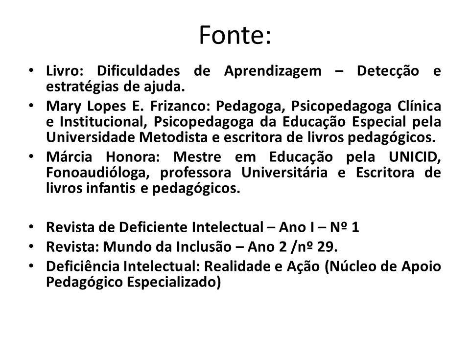 Fonte: • Livro: Dificuldades de Aprendizagem – Detecção e estratégias de ajuda. • Mary Lopes E. Frizanco: Pedagoga, Psicopedagoga Clínica e Institucio