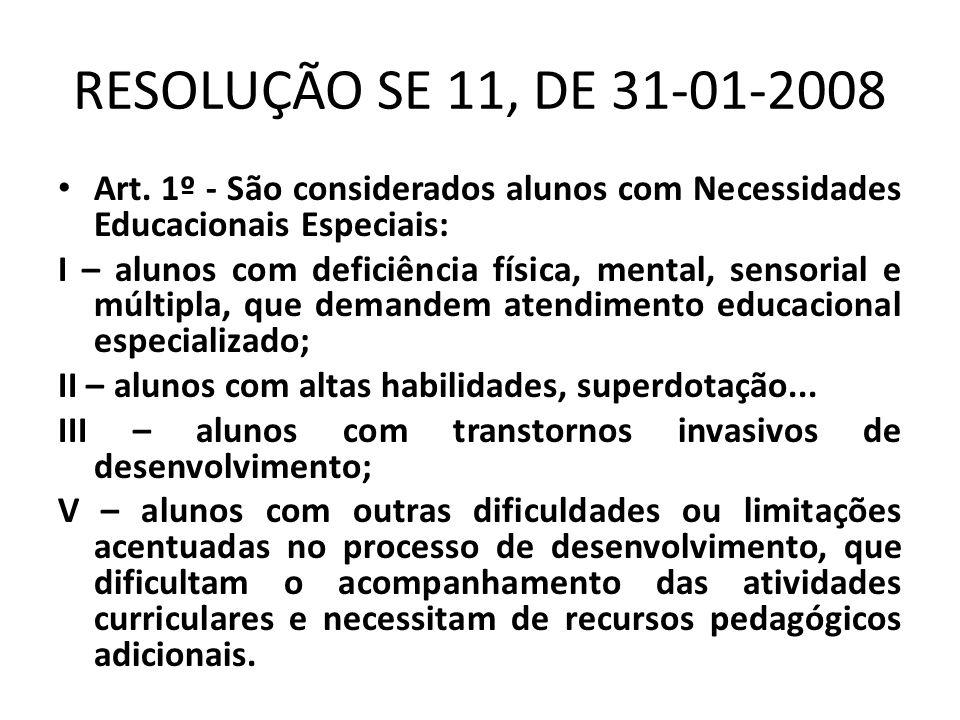 RESOLUÇÃO SE 11, DE 31-01-2008 • Art. 1º - São considerados alunos com Necessidades Educacionais Especiais: I – alunos com deficiência física, mental,