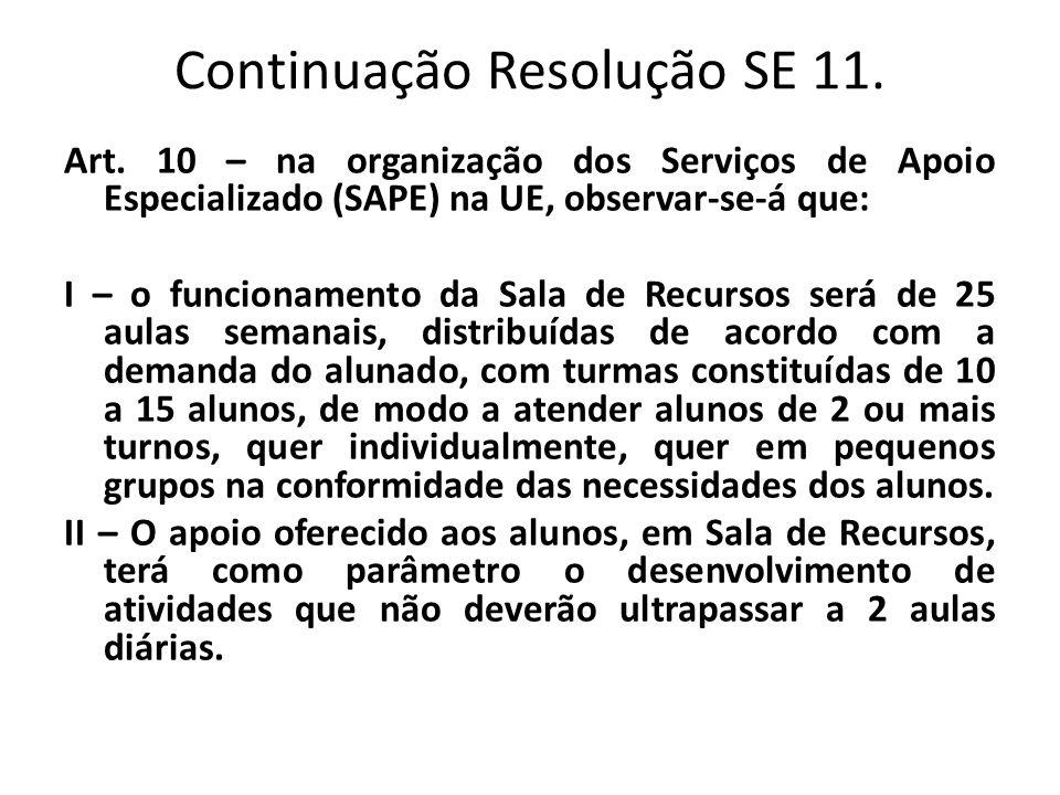 Continuação Resolução SE 11. Art. 10 – na organização dos Serviços de Apoio Especializado (SAPE) na UE, observar-se-á que: I – o funcionamento da Sala