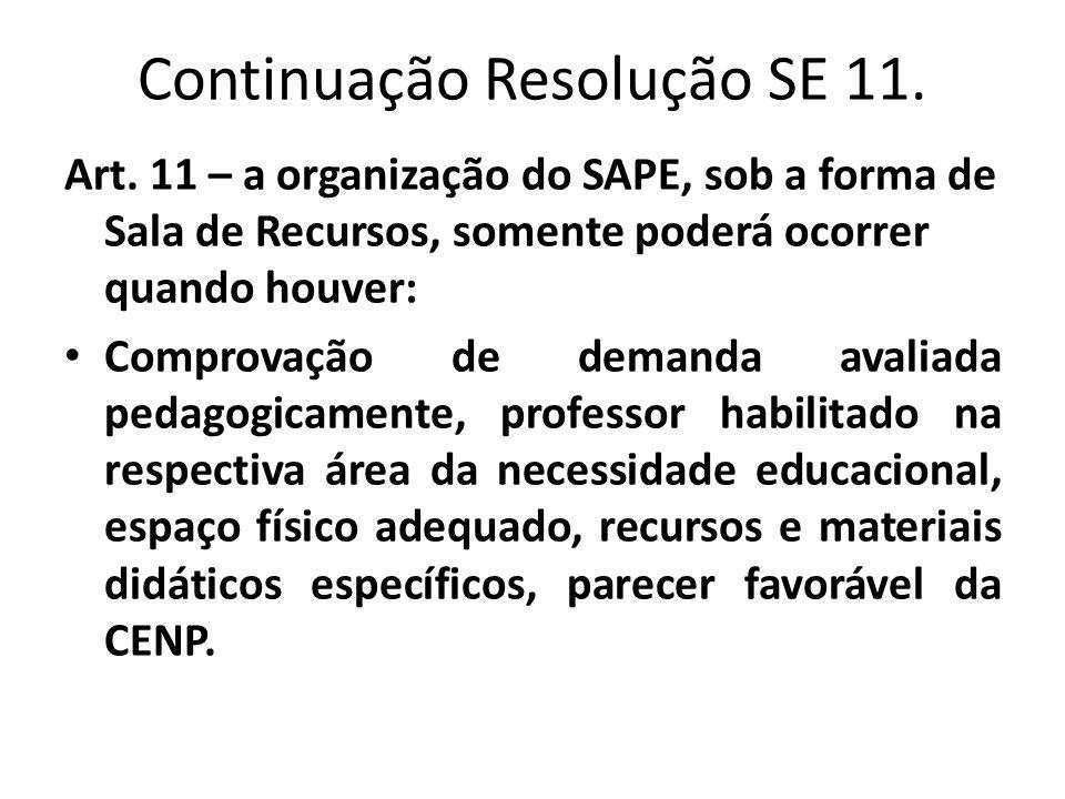 Continuação Resolução SE 11. Art. 11 – a organização do SAPE, sob a forma de Sala de Recursos, somente poderá ocorrer quando houver: • Comprovação de