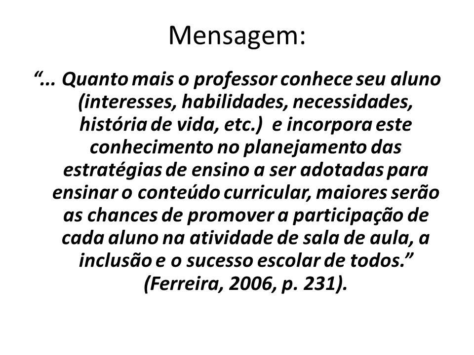 """Mensagem: """"... Quanto mais o professor conhece seu aluno (interesses, habilidades, necessidades, história de vida, etc.) e incorpora este conhecimento"""