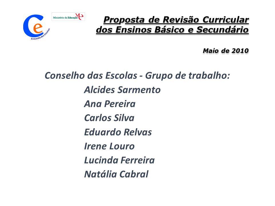 Proposta de Revisão Curricular dos Ensinos Básico e Secundário Maio de 2010 Conselho das Escolas - Grupo de trabalho: Alcides Sarmento Ana Pereira Car