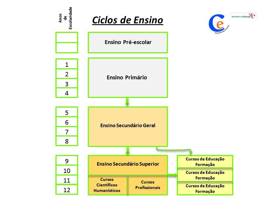 Cursos de Educação Formação Ciclos de Ensino Anos de Escolaridade 4 Ensino Pré-escolar 1 2 3 Ensino Primário 5 6 7 8 Ensino Secundário Geral 9 10 11 1