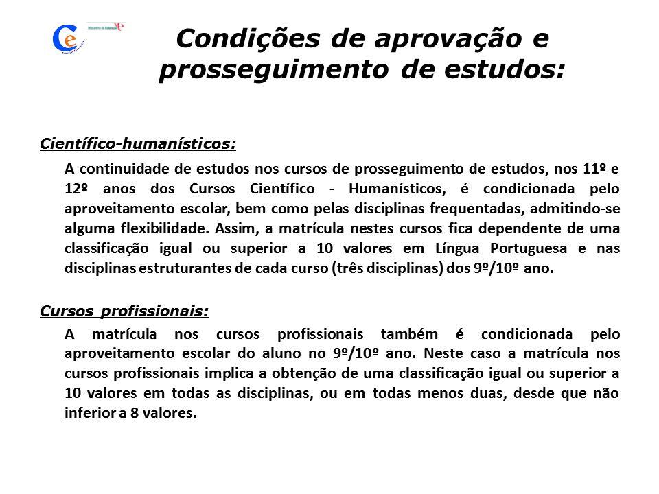 Condições de aprovação e prosseguimento de estudos: Científico-humanísticos: A continuidade de estudos nos cursos de prosseguimento de estudos, nos 11