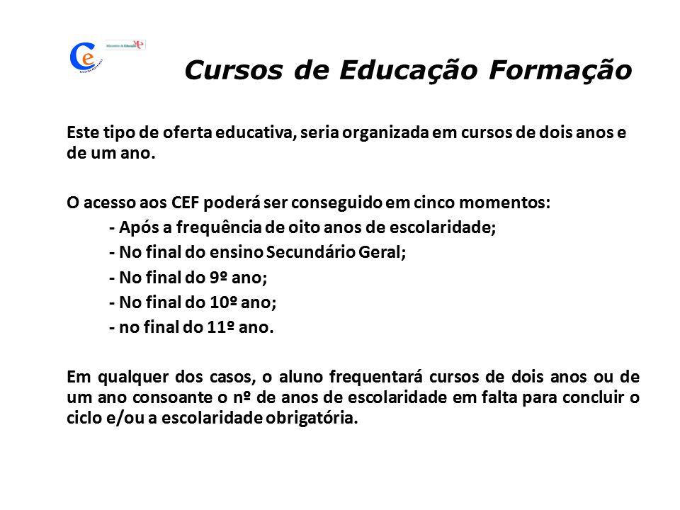 Cursos de Educação Formação Este tipo de oferta educativa, seria organizada em cursos de dois anos e de um ano. O acesso aos CEF poderá ser conseguido