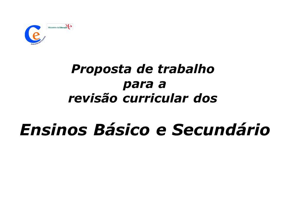 Proposta de trabalho para a revisão curricular dos Ensinos Básico e Secundário