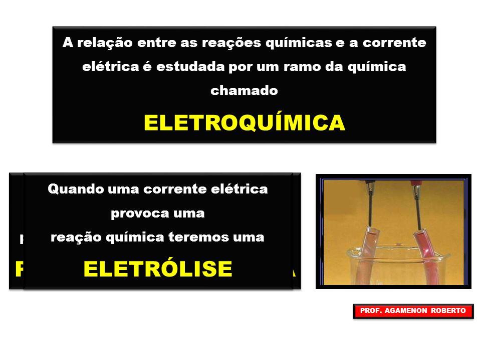 A relação entre as reações químicas e a corrente elétrica é estudada por um ramo da química chamado ELETROQUÍMICA A relação entre as reações químicas