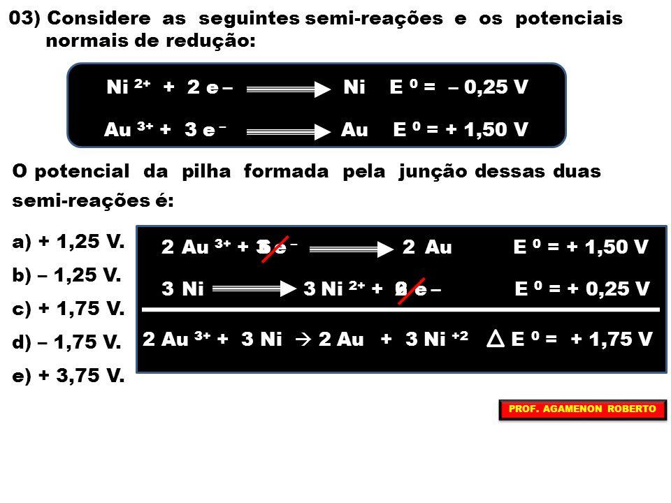 03) Considere as seguintes semi-reações e os potenciais normais de redução: O potencial da pilha formada pela junção dessas duas semi-reações é: a) +