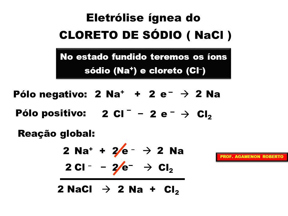 Eletrólise ígnea do CLORETO DE SÓDIO ( NaCl ) No estado fundido teremos os íons sódio (Na + ) e cloreto (Cl – ) No estado fundido teremos os íons sódi