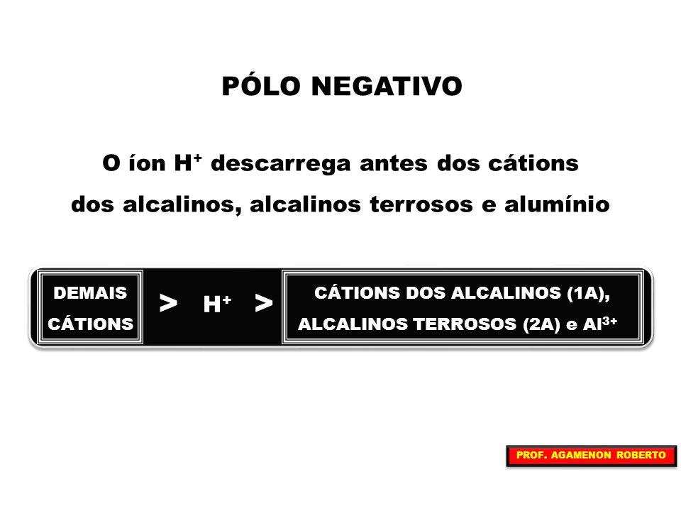 PÓLO NEGATIVO O íon H + descarrega antes dos cátions dos alcalinos, alcalinos terrosos e alumínio DEMAIS CÁTIONS > H+H+ CÁTIONS DOS ALCALINOS (1A), AL
