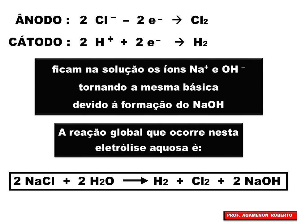 – – 2 Cl – 2 e  Cl 2 ÂNODO : CÁTODO : 2 H + 2 e  H 2 + – ficam na solução os íons Na + e OH – tornando a mesma básica devido á formação do NaOH fica