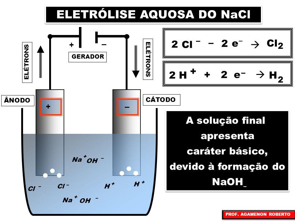 GERADOR ELÉTRONS +– + – CÁTODO OH – Cl Na + – Cl Na OH + – – Cl 2 2 H + H + H + ÂNODO ELETRÓLISE AQUOSA DO NaCl Cl – – e –  2 2 2 2 H + e – 2  H 2 +