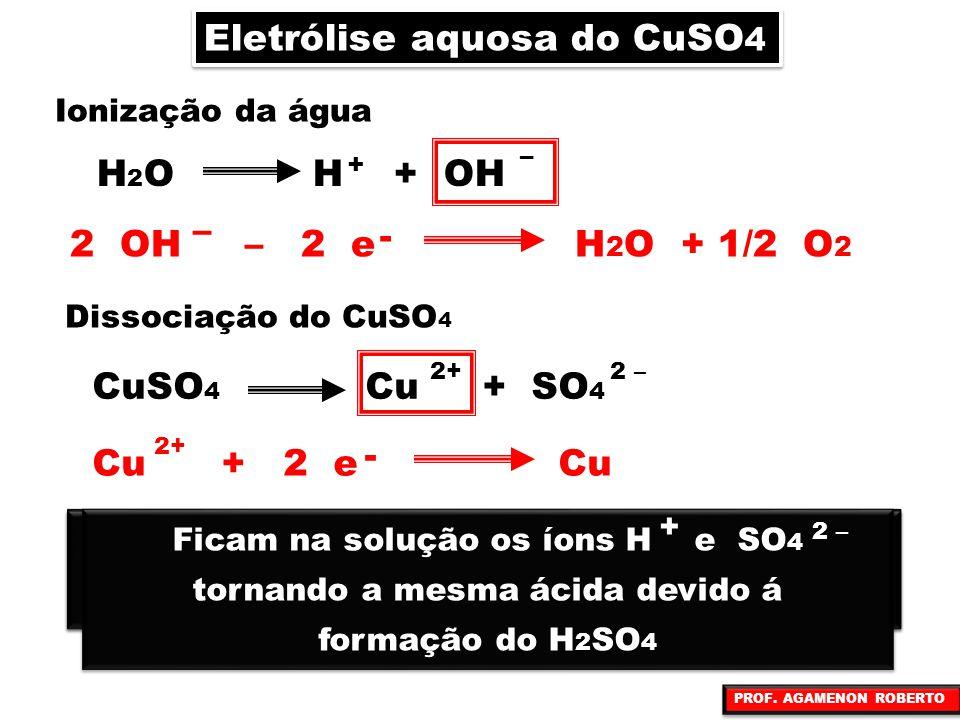 Eletrólise aquosa do CuSO 4 Ionização da água H 2 O H + OH + – Dissociação do CuSO 4 CuSO 4 Cu + SO 4 2+2 – No ânodo (pólo positivo) a oxidrila tem pr