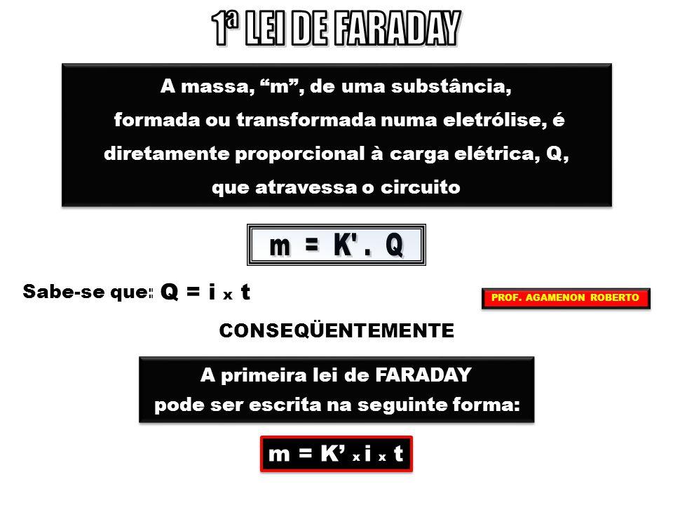 """A massa, """"m"""", de uma substância, formada ou transformada numa eletrólise, é diretamente proporcional à carga elétrica, Q, que atravessa o circuito A m"""