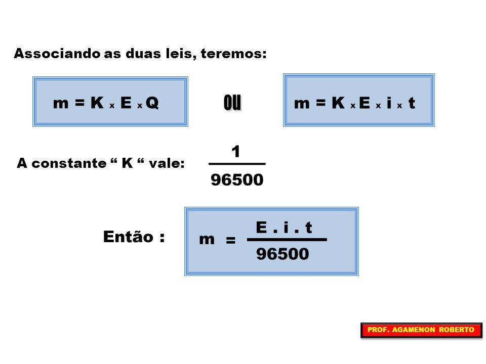 """Associando as duas leis, teremos: A constante """" K """" vale: Então : m = K x E x Q m = K x E x i x t 1 96500 = m E. i. t 96500 PROF. AGAMENON ROBERTO"""
