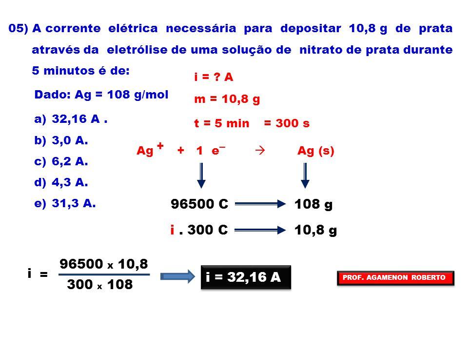 05) A corrente elétrica necessária para depositar 10,8 g de prata através da eletrólise de uma solução de nitrato de prata durante 5 minutos é de: Dad