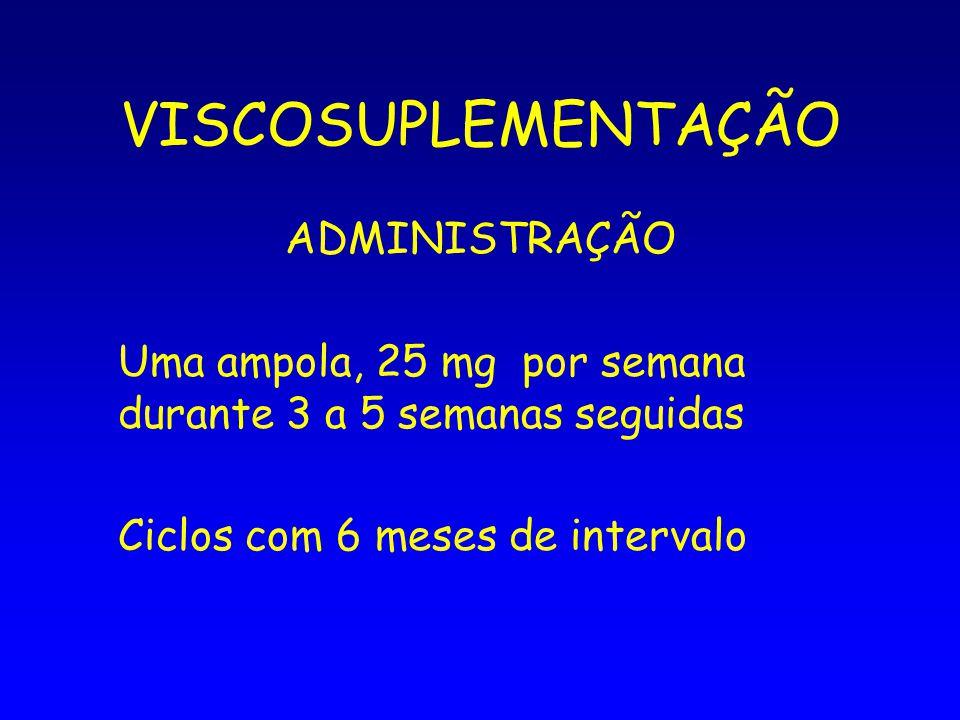 VISCOSUPLEMENTAÇÃO ADMINISTRAÇÃO Uma ampola, 25 mg por semana durante 3 a 5 semanas seguidas Ciclos com 6 meses de intervalo