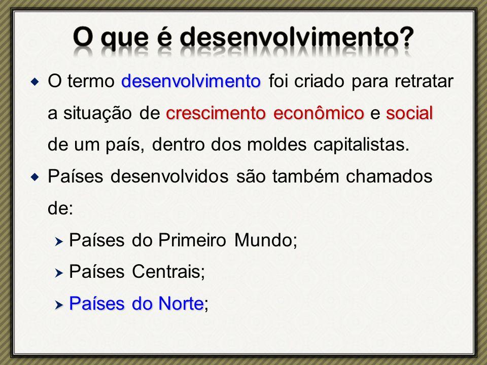 desenvolvimento crescimentoeconômicosocial  O termo desenvolvimento foi criado para retratar a situação de crescimento econômico e social de um país, dentro dos moldes capitalistas.