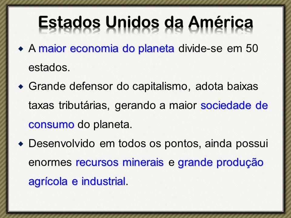 maior economia do planeta  A maior economia do planeta divide-se em 50 estados.