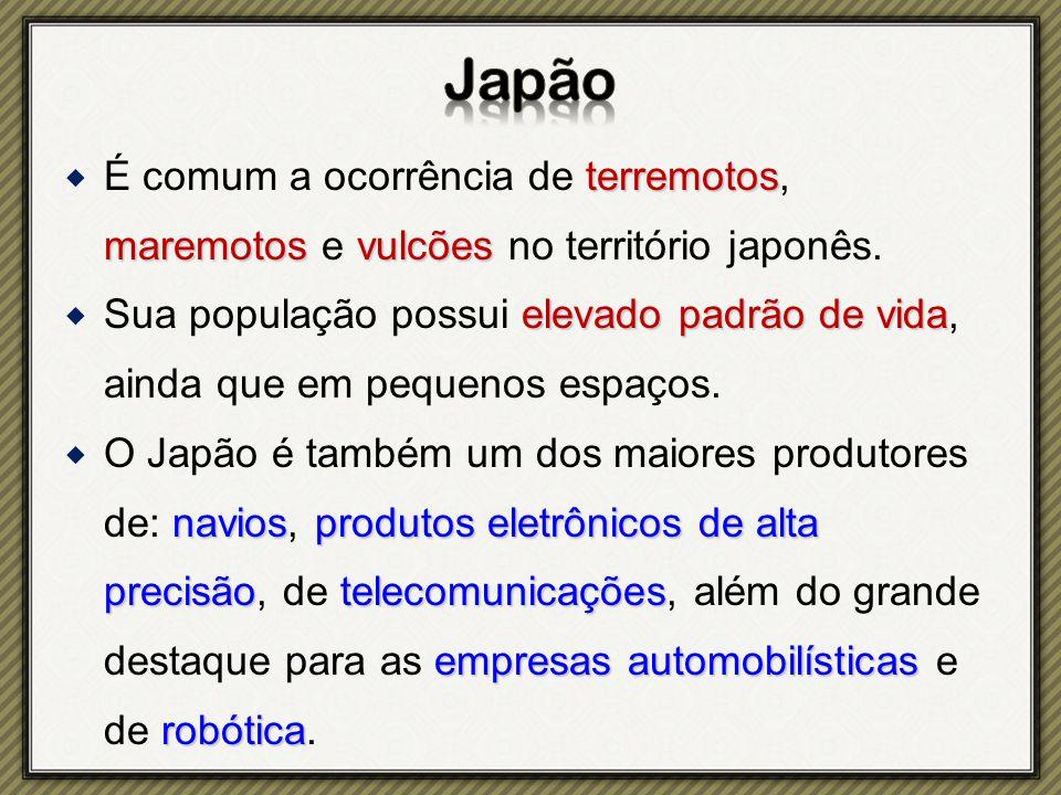 terremotos maremotosvulcões  É comum a ocorrência de terremotos, maremotos e vulcões no território japonês.
