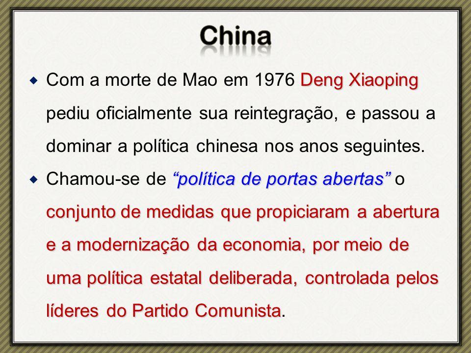 Deng Xiaoping  Com a morte de Mao em 1976 Deng Xiaoping pediu oficialmente sua reintegração, e passou a dominar a política chinesa nos anos seguintes.