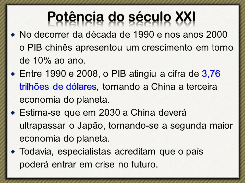  No decorrer da década de 1990 e nos anos 2000 o PIB chinês apresentou um crescimento em torno de 10% ao ano.