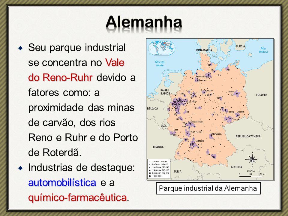 Vale do Reno-Ruhr  Seu parque industrial se concentra no Vale do Reno-Ruhr devido a fatores como: a proximidade das minas de carvão, dos rios Reno e Ruhr e do Porto de Roterdã.